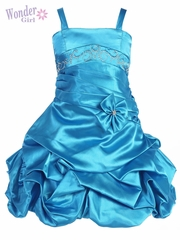 Turquoise Satin Gathered Dress w/ Rhinestones & Pleated Waistline