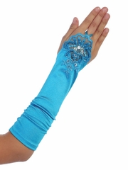 Turquoise  Satin Ruched Fingerless Gloves