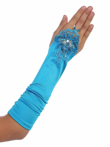 Turquoise Long Satin Ruched Girls' Glovettes w/ Lace