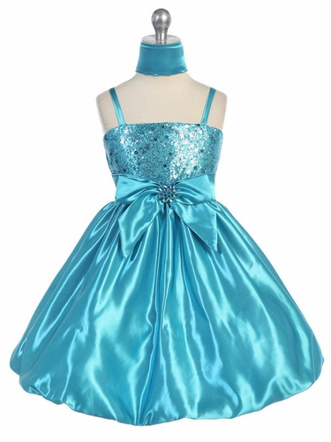 Turquoise Sequins Dress on Satin w/Shawl