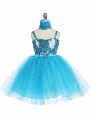 Turquoise Sweet Heart Sequin Bodice w/ Crystal Tulle Skirt