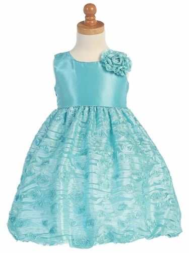 Turquoise Taffeta Bodice w/ Embroidered Tulle Dress
