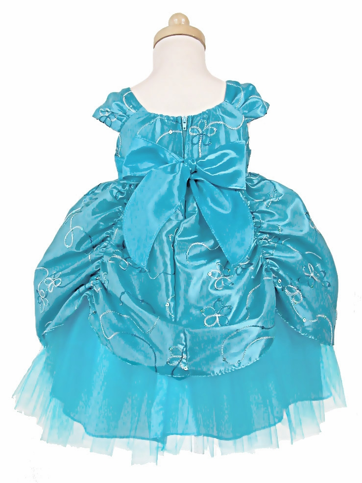Turquoise Taffeta Embroidered Cinderella Baby Dress