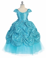Turquoise Taffeta Embroidered Cinderella Dress