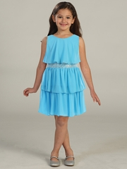 CLEARANCE - Turquoise Tiered Chiffon Dress w/ Sequins Belt