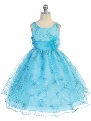 CLEARANCE - Turquoise Two Layer Embroidered Organza Dress