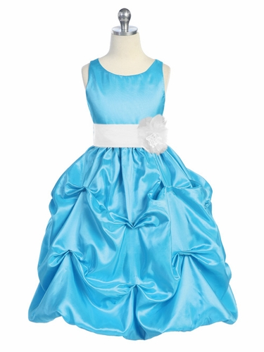 Turquoise/White Taffeta Bubble Pick Up Dress