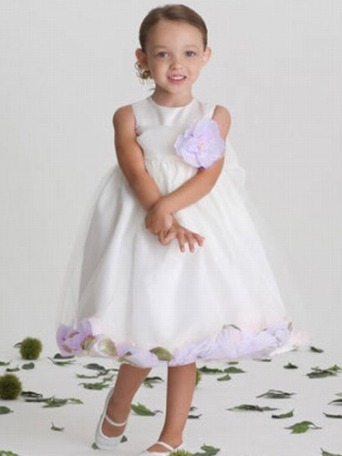 US Angels Satin Tulle Lilac Petal Dress