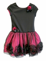 Us Angels Black & Fuchsia Short Sleeve Drop Ponte Dress w/ Sparkle Rosette Tulle Skirt