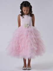 US Angels Blush Pink Satin & Tulle Dress w/ Flower