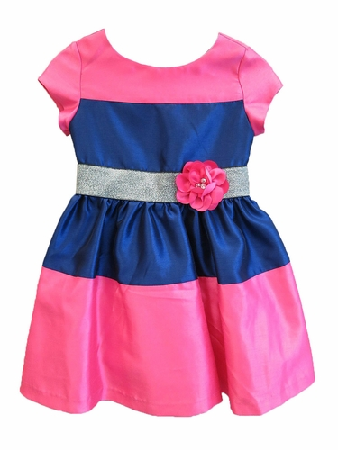 Us Angels Fuchsia & Navy Shantung Color Block Dress