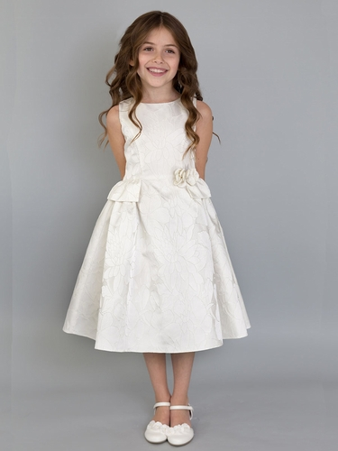US Angels Ivory Jacquard Dress