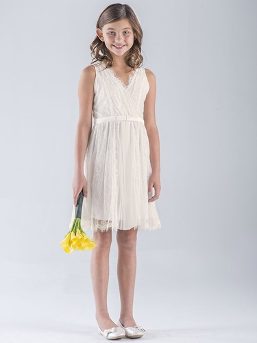 US Angels Ivory Lace Sleeveless Wrap Dress