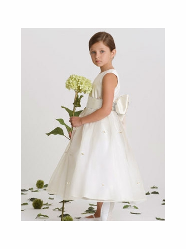 US Angels Ivory Rosebud Dress