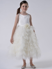 CLEARANCE - US Angels Ivory Satin & Tulle Dress w/ Flower