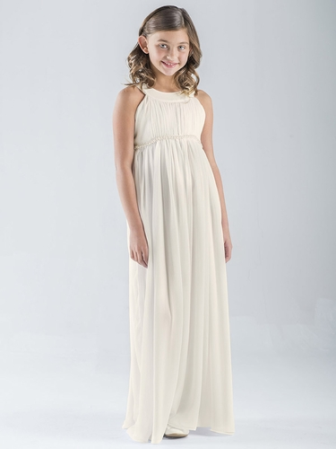 US Angels Ivory Sleeveless Chiffon Dress
