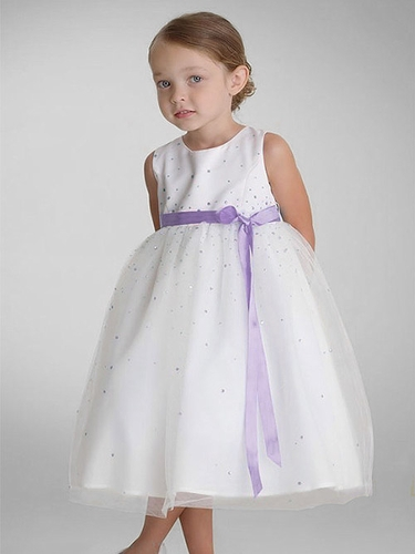 US Angels Lilac Sleeveless Satin Tulle Dress