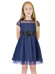 Us Angels Navy Puff Sleeve Daisy Lace Illusion Neck Dress w/ Full Skirt