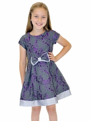 Us Angels Plum Floral Brocade Dress w/ Bow