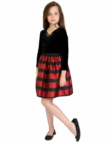 US Angels Red Velvet Lace Stripe Dress