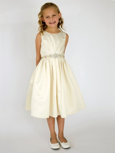 US Angels Sand Pleated Dress w/ Rhinestone Belt