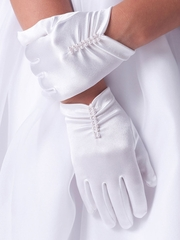 CLEARANCE - Us Angels Satin Glove w/ Rushing & Pearls