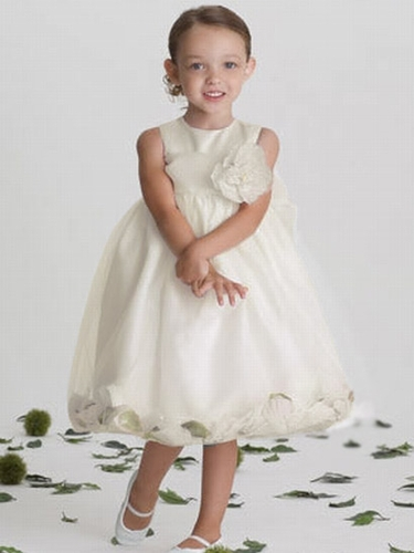 US Angels Satin Tulle Ivory Petal Dress