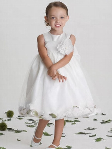 US Angels Satin Tulle White Petal Dress