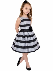 Us Angels Silver Lace Stripe Brocade Dress