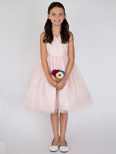 US Angels V-Neck Point D'Esprit Blush Pink Flower Girl Dress