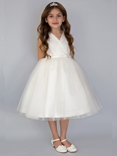US Angels V-Neck Point D'Esprit Ivory Flower Girl Dress