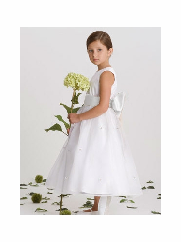US Angels White Rosebud Dress