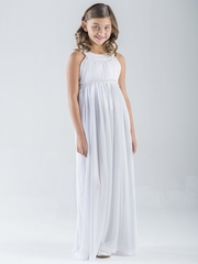US Angels White Sleeveless Chiffon Dress