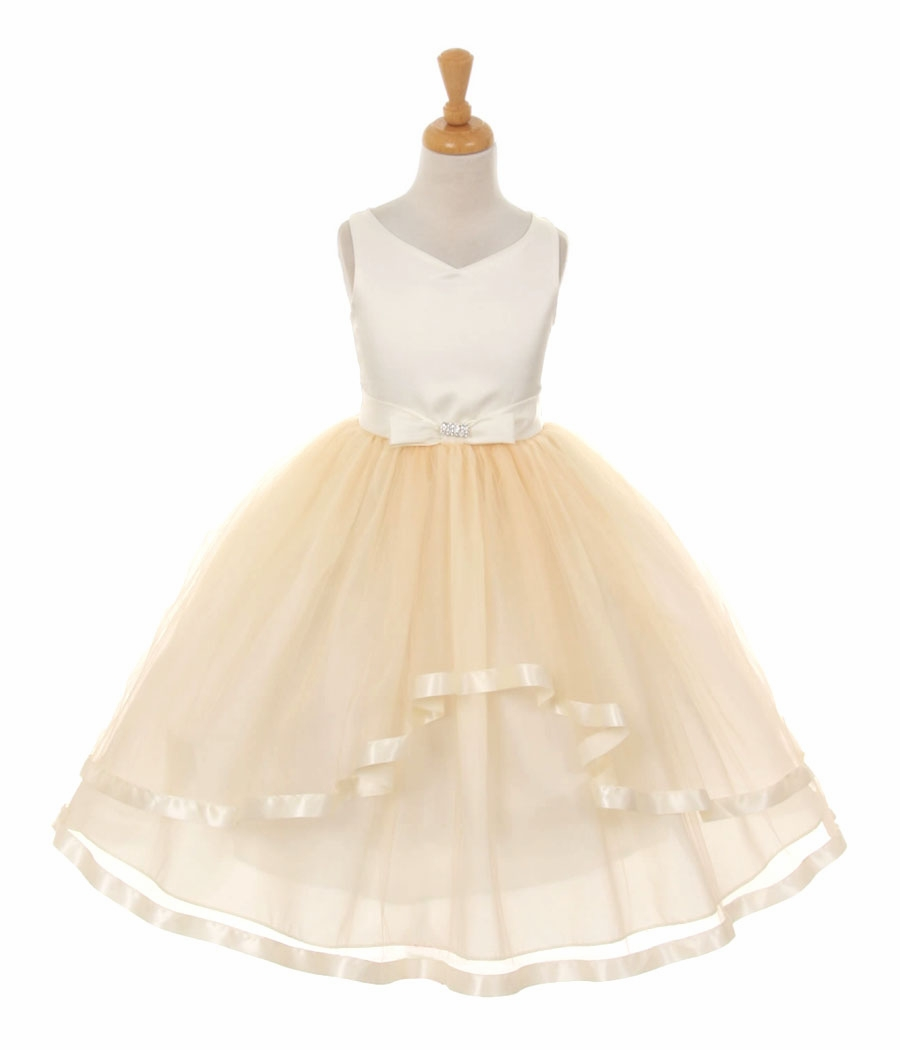 Cheap flower girl dresses gold
