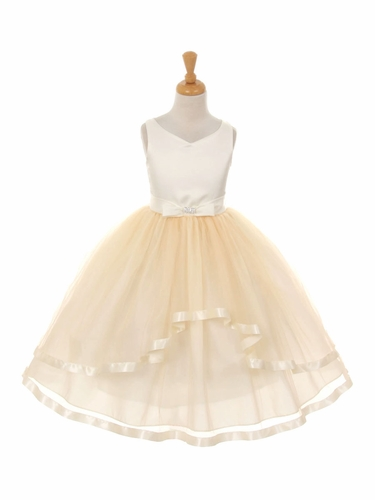 V-Neck Satin Bow 3 Layer Champagne Tulle Dress