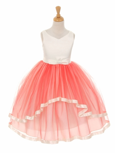 V-Neck Satin Bow 3 Layer Coral Tulle Dress
