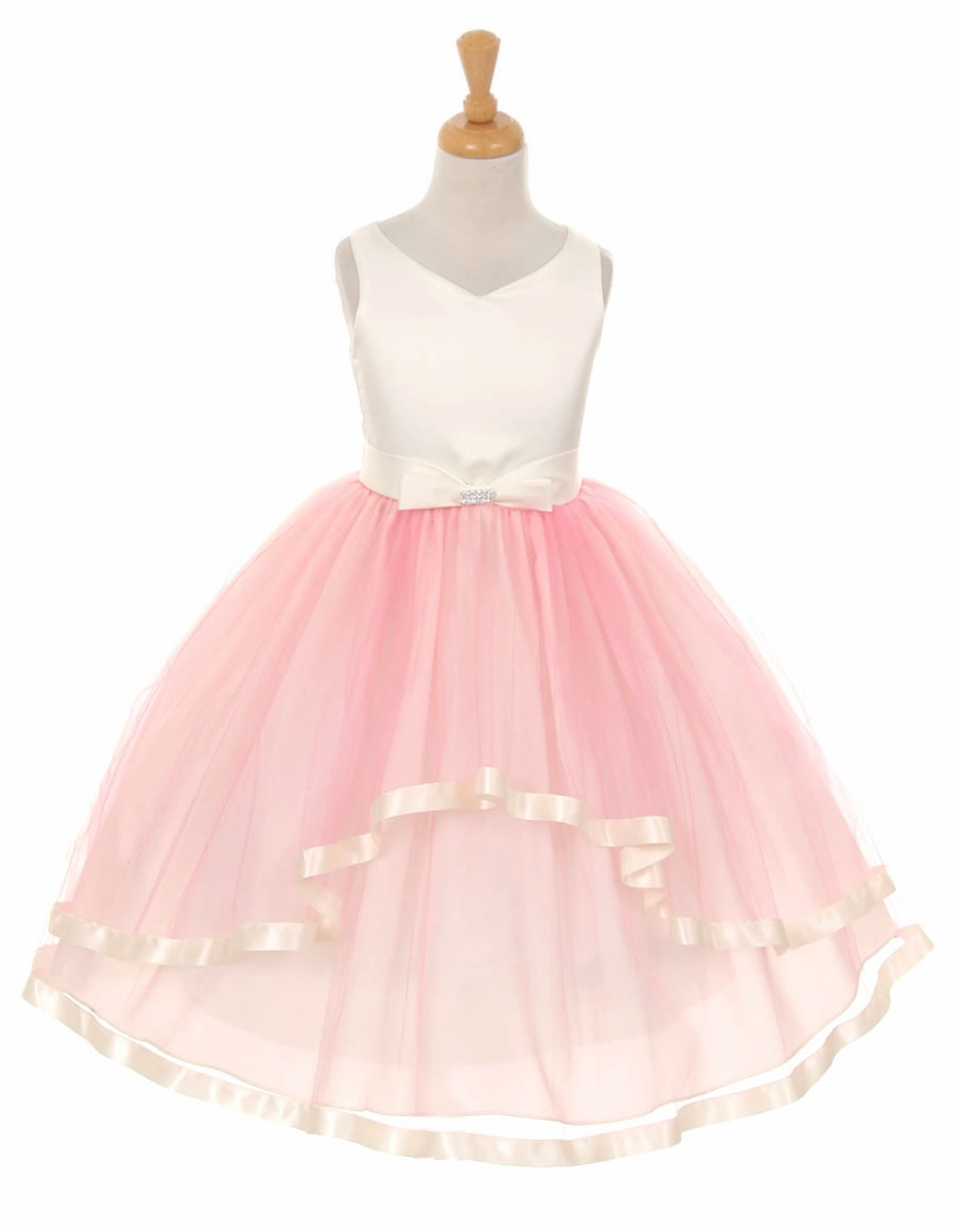 Neck Satin Bow 3 Layer Pink Tulle Dress