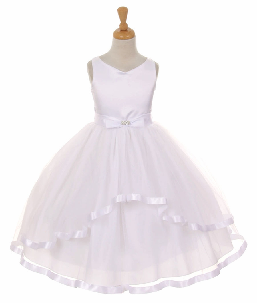 WW Petticoat Ballerina Skirt Child 3 Layer Tutu Tulle Satin Ribbon Costume