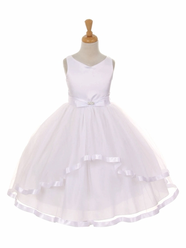 V-Neck Satin Bow 3 Layer White Tulle Dress