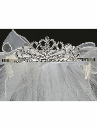Veil On Rhinestone Tiara w/ Organza Bows On Back