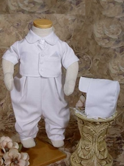 Vested Gabardine Short Sleeve Christening Coverall