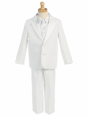 White 5 Piece Two Button Tuxedo