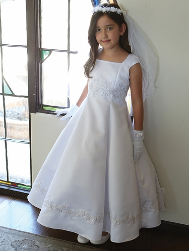 White A-line Communion Dress w/Embellishment