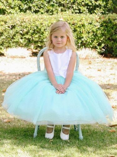 White & Aqua Satin Bodice w/ Glitter Tulle Skirt Dress
