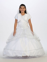 White Asymmetrical One Shoulder Rhinestone Bodice w/ Tulle Communion Dress & Bolero