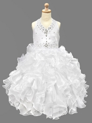 White Beaded Halter w/ Ruffled Organza Dress