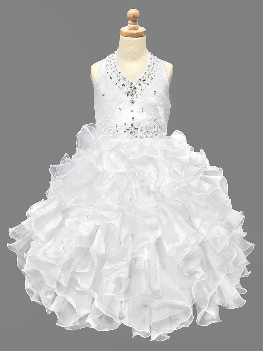 Ruffled Organza Skirt With Embroidered And Beaded Bodice: White Beaded Halter W/ Ruffled Organza Dress