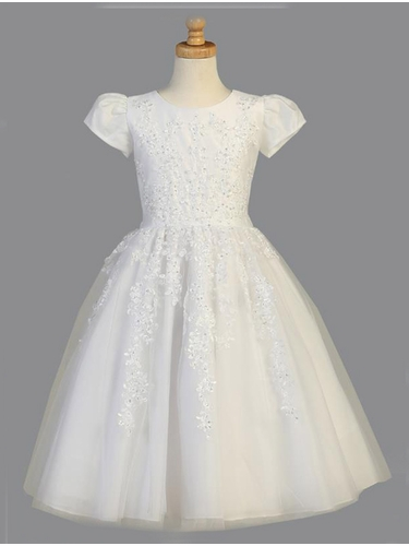 White Beaded & Tulle Cap Sleeve Communion Dress