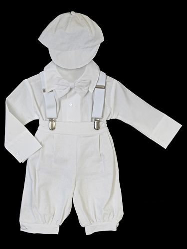 White Bermuda Set w/ Suspenders & Hat