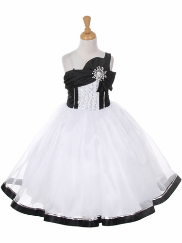 White & Black One Shoulder Sparkle Organza Dress